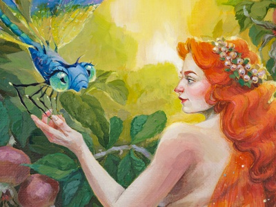 """A Fairy and Her Dragonfly"" fantasy acrylic painting girl illustration girl character portrait illustration portrait painting portrait art illustration art fantasy art fantasyart fantasy character design drawing traditional art art acrylic acrylic painting acrylicpainting painting fairytale fairy illustration"