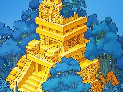 Golden Mayan piramyd flying islands forest background adobe flash concept art pykodelbi oscolcov nikita anna ivanova isometric piramyd maya item game art