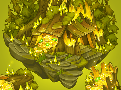 Sumer forest hut bg decor for TreasureHunters game forest hut isometric sumer game art decor treasure hunters adobe flash concept art pykodelbi anna ivanova nikita oscolcov background