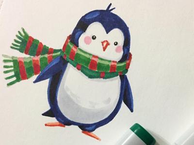 Penguin)) creativemarket sketch drawing copic cute christmas winter conceptart cartoon art penguin