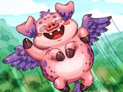 Flying Piggy creature character art gamedev sketch gameforkids cartoon kids cute illustration gameart game characterdesign character