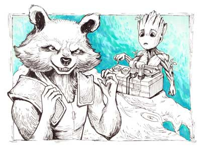 Baby Groot And Rocket Fanart By Pykodelbi Dribbble Dribbble