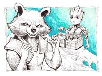 Baby Groot and Rocket fanart