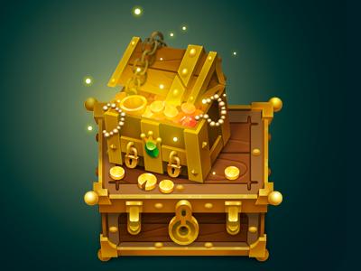TreasureYARRRrrChest item rpg gameart objects props gameprops gameitems gamedev chest diamonds gold treasure