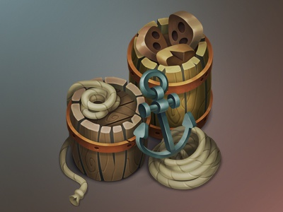 Pirates happy! ship pirates anchor ropes barrels indiegame gamedev props gameart game items