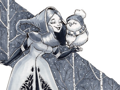 Watch out! Winter Witch! freeart patreon cute owl sketchbook girl artwork scan ink illustration witch witchcraft