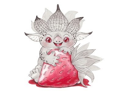 Strawberry Monster fairy forest red sketch drawing cartoon illustration kids cute creatures strawberry monster