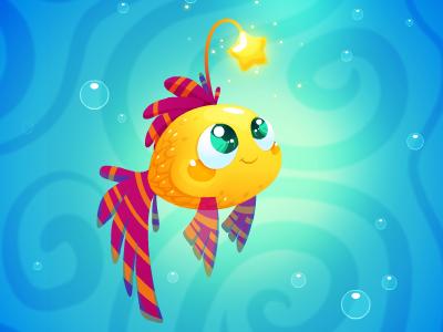 Golden fish characterdevelopment characterdesign star gameart indiedev ocean creature cutest cartoon gamedev illustration kids