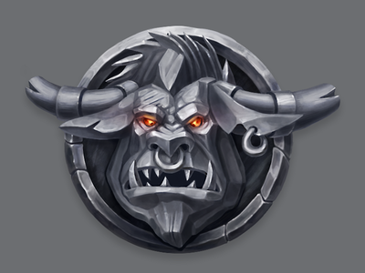 Stone Monsters Heads digital art concept art indie game game dev minotaur character design illustration cartoon icon bestiary monster game art