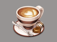Cappuccino cup icon (live drawing video)