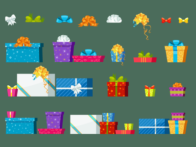 Christmas gift boxes pack party birthday bowknot postcard celebration package illustration flat present christmas box gift