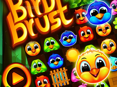 Bird Brust Match-3 Puzzle Game UI by Graphic Assets on Dribbble