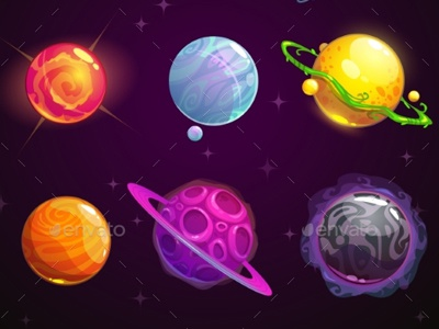 colorful cartoon fantasy planets set by graphic assets dribbble