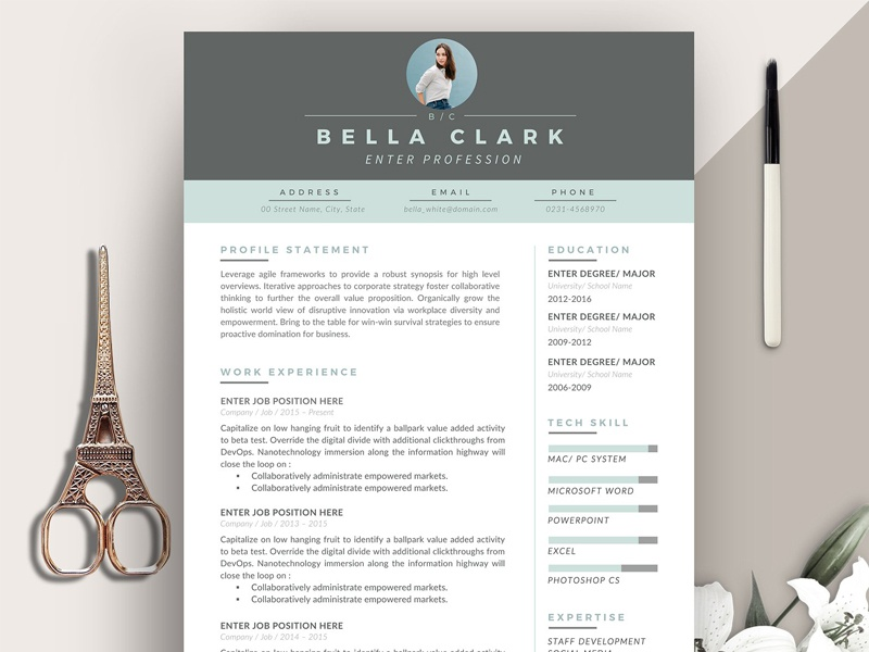 Resume Template 3 pages | Aqua Grey by Graphic Assets | Dribbble ...