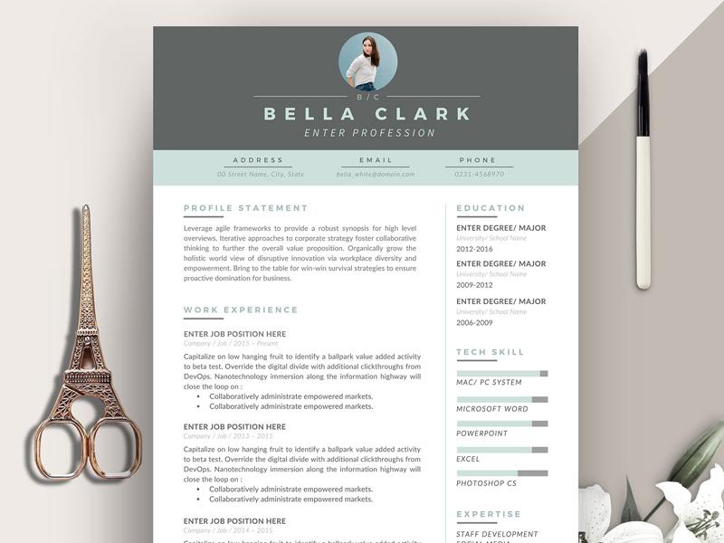 resume template 3 pages aqua grey diy resume word resume cv template printable resume curriculum