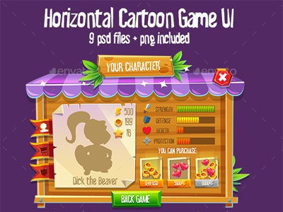 Wooden Horizontal Game Interface #7 by Graphic Assets on