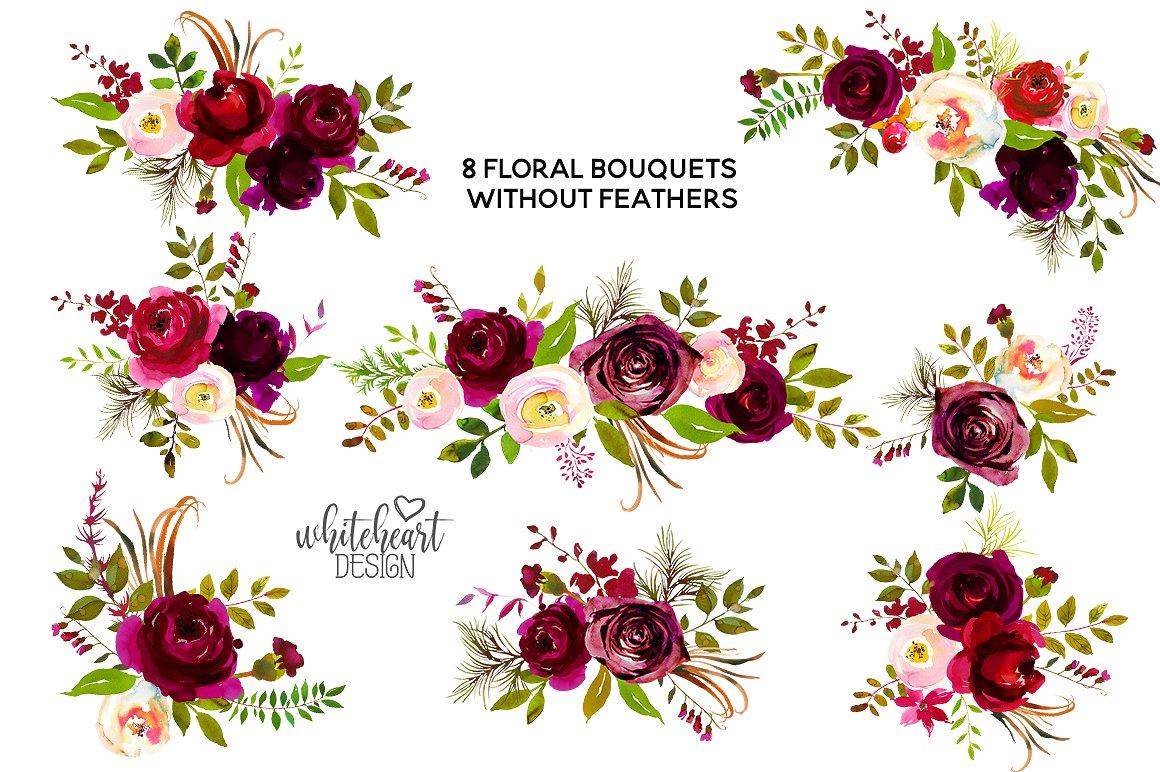 Dribbble Boho Bordo Watercolor Flowers Display Jpg By