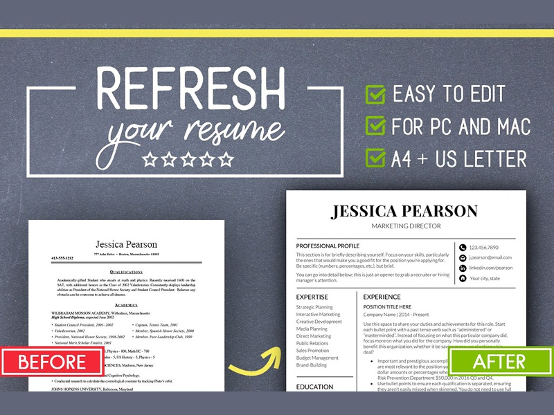 Clean Resume Template /Word /Mac PC - FREE Download by Graphic ...