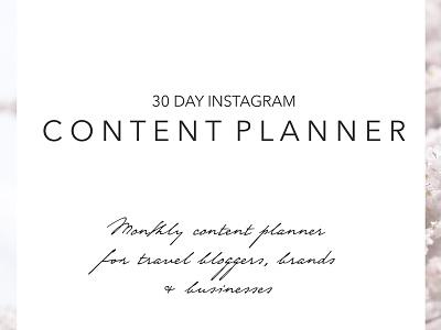 30 Day Instagram Content Planner monthly planner instagram branding blog plan social media instagram social media instagram marketing instagram planner instagram content planner content planner content calendar