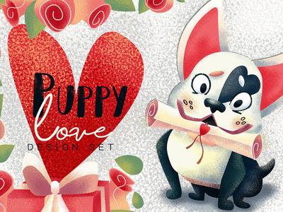 Puppy love. Valentine's Day clipart