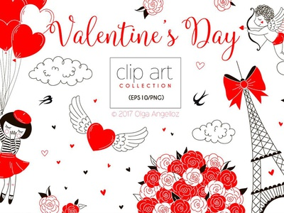 Valentine's Day clip art kit