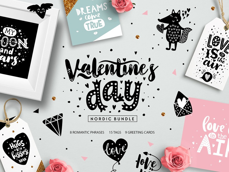 Valentine S Day Nordic Bundle By Graphic Assets Dribbble Dribbble
