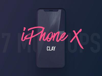 7 Most Popular iPhone X Clay Mockups web design ux ui apple ios iphone x mockup design presentation product mockup iphone x clay iphone x