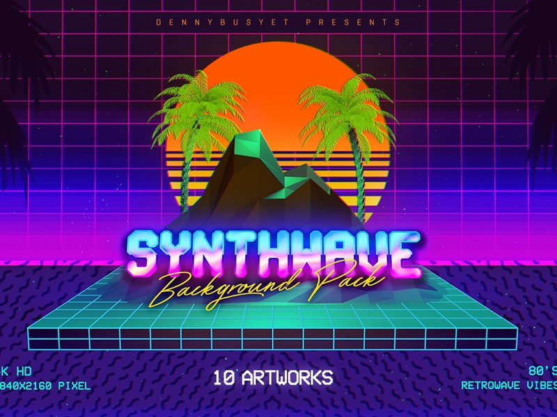 Synthwave Retrowave Background Pack by Graphic Assets on Dribbble