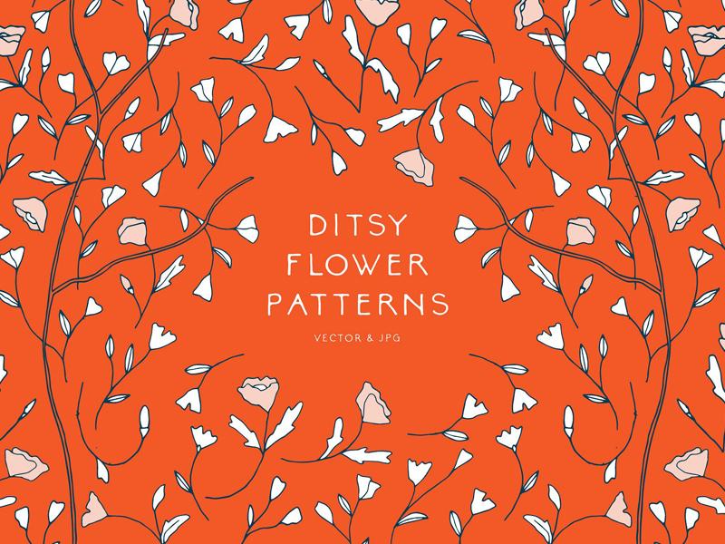 Ditsy Flower Patterns ( FREE DOWNLOAD ) feminine chic drawing wallpaper print flower vector ditsy flower