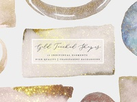 Gold Touched Shapes - Watercolor ( FREE Download )