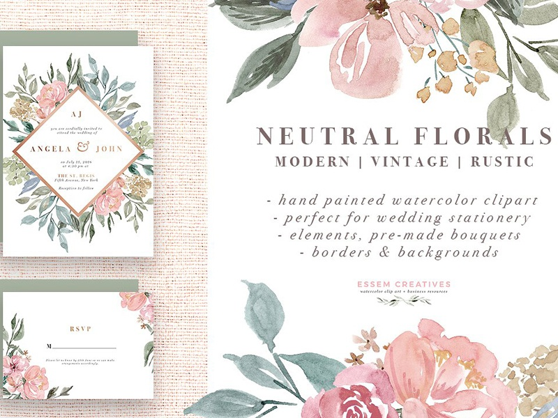 Neutral Watercolor Flower Graphics By Graphic Assets