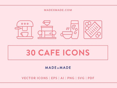 Line Icons – Cafe ( FREE Download )
