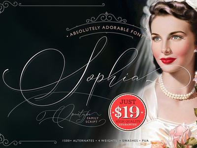 Absolutely Adorable Sophia elegant watercolor invitations logo stationary wedding swash calligraphy script font sofia sophia