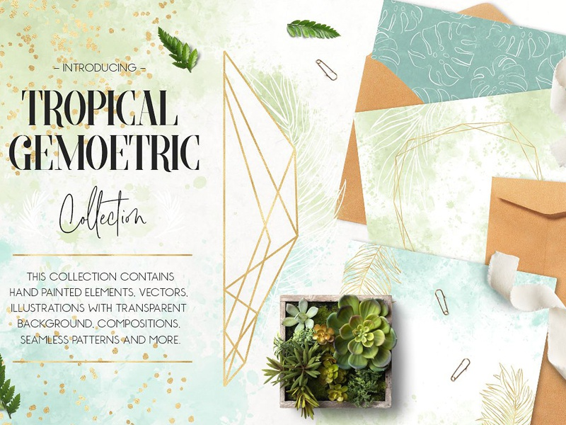 Tropical & Geometric Collection seamless texture gold confetti gold frames polygonal gold foil tropical background tropical illustrations tropical geometric collection tropical geometric collection invitation logos
