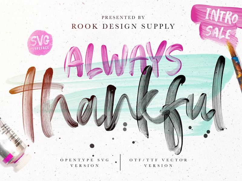 Always Thankful - SVG Font Duo summer hand lettered lovely color font pretty beautiful font svg font duo font duo opentype svg opentype svg