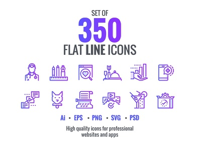 Set flat gradient line icons concept design fitness icons vector social icons technology icons modern icons ui icons marketing icons flat line icons flat icons flat icons