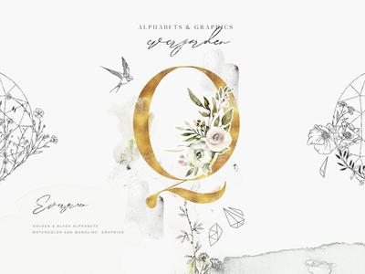 Evergarden Alphabets&Graphics wedding kit graphics kit logotype logo frames geometric design kit greenery alphabet graphics vector watercolor