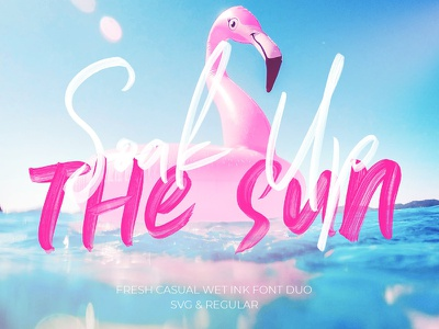 50% - Soak Up The Sun Font Duo + SVG stylish realistic tropical brushed font duo svg font svg script sun trendy casual summer