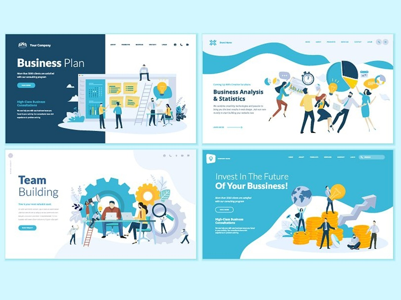 Business web design templates by graphic assets dribbble dribbble business web design templates web app process background creative page template mobile logo flat marketing concept fbccfo Image collections