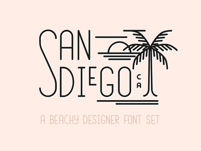 San Diego | Beach Font Set wedding font wedding lettering typography invitations diy logo font design branding logotype summer font modern summer beachy logo font designer font font set font beach font set beach font san diego
