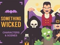 Halloween characters and scenes