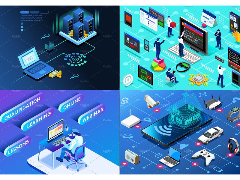 Banner & Landing Page Collection 04 concept banner landing landing page website web app application design development business finance technology creative flat flat design isometric isometric design illustration vector icon