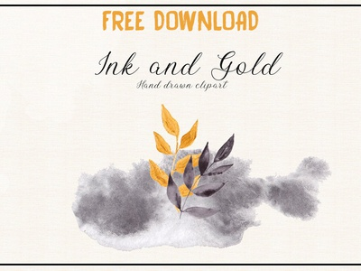 Free Premium Download - Ink and Gold. Hand drawn clipart