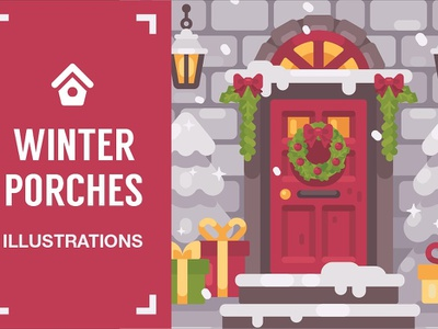 Winter porches graphic design christmas holiday banner new year merry invitation flyer greeting cards card decoration background graphic illustration winter porches winter flat design vector design flat