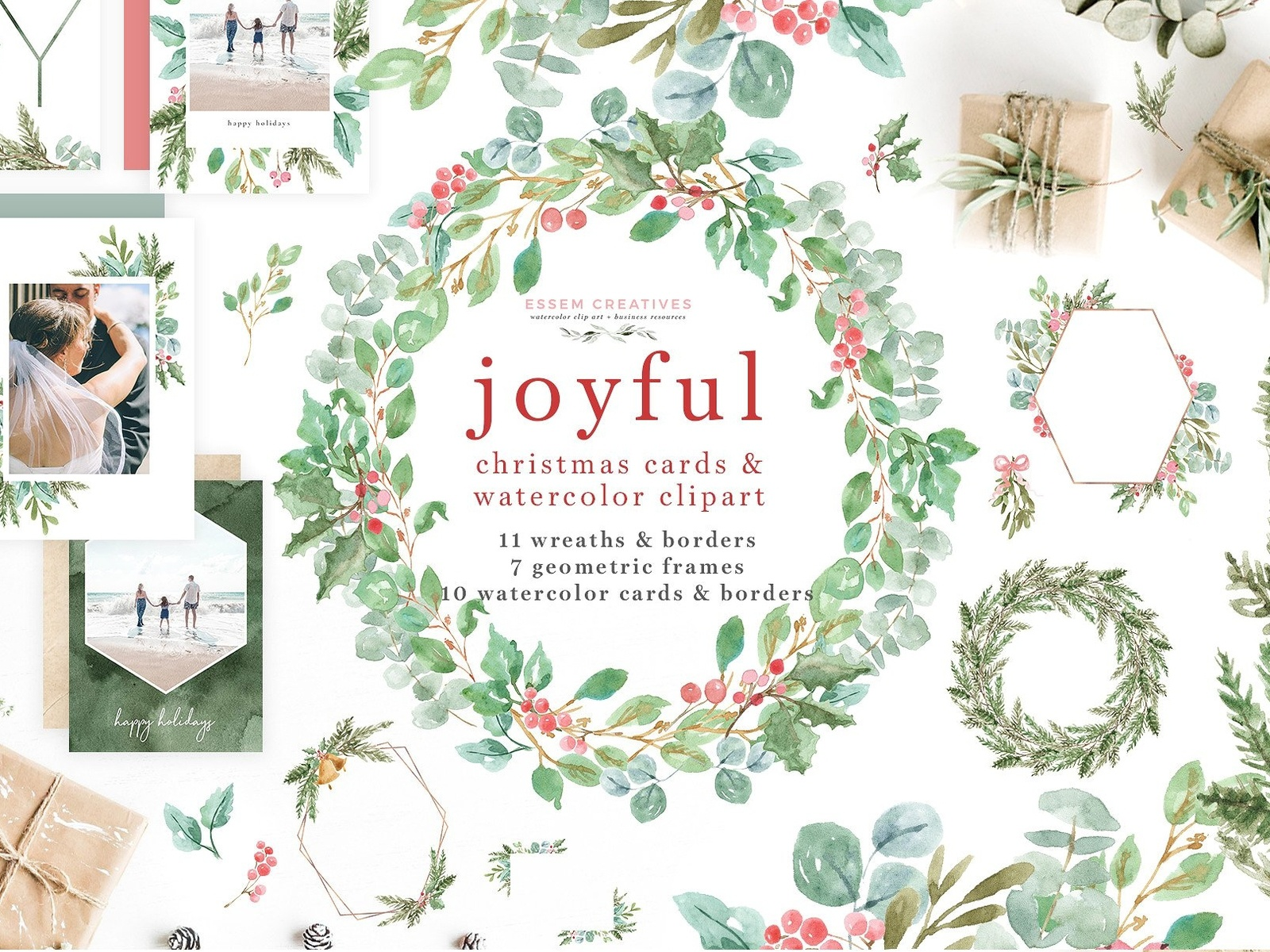 Watercolor Christmas Card Clipart by Graphic Assets | Dribbble ...