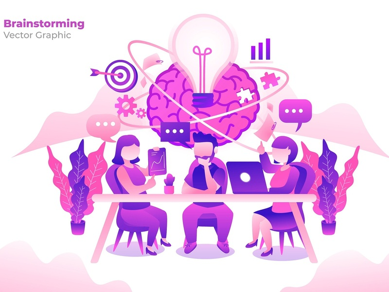 Brainstorming - Vector Illustration marketing business design flat design flat strategy concept brain brainstorming graphic vector graphic technology landing icon process page isometric vector illustration banner