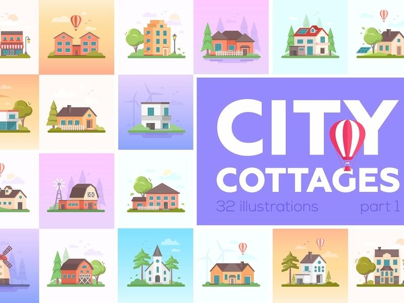 City cottages in flat design style modern minimalistic project town landing page banner cityscape estate building landscape concept vector illustration flat design flat design city cottages cottages city flat design style