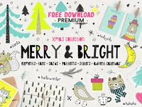 Free Premium Download - Merry & Bright Xmas - holiday set