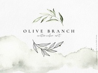 Olive branch watercolor & line art