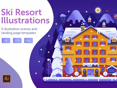 Winter Ski Resort Web Illustrations illustration background app flat flat design landing page templates concept banner landing page hotel snow mountains holiday vector web illustrations web winter winter ski resort ski resort ski resort illustrations